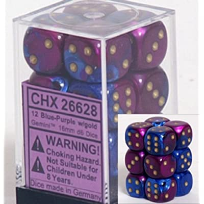 Chessex Dice d6 Sets: Gemini Blue & Purple with Gold - 16mm Six Sided Die (12) Block of Dice: Toys & Games