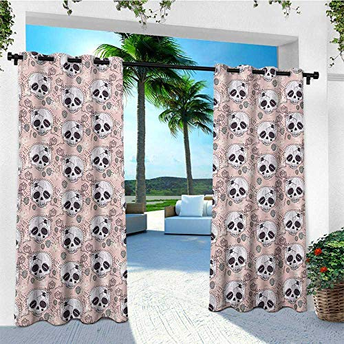 leinuoyi Skull, Outdoor Curtain Waterproof, Halloween Traditional Mexican Sugar Day of The Dead Roses Horror Folk Pattern, Outdoor Patio Curtains W72 x L108 Inch Blush White Onyx