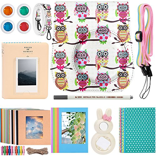 Katia Camera Accessories for Fujifilm Instax Mini 9 or Mini 8 Instant Film Camera- Fuji Instax Mini Case OWL with Strap, Polaroid Accessories Photo Album, Frame, Selfie Len, Filters, Stickes