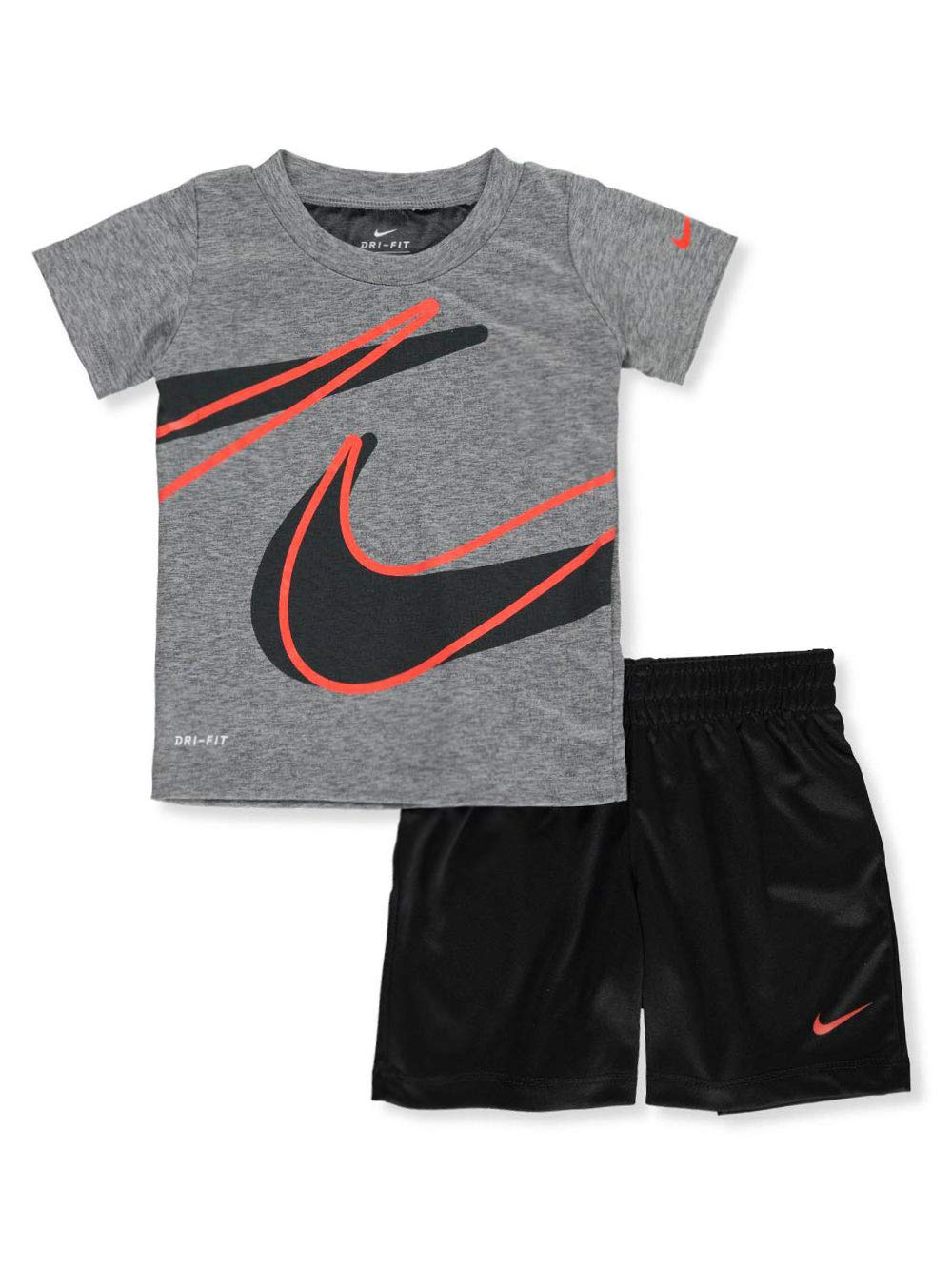 Nike Baby Boys' Dri-Fit 2-Piece Shorts Set Outfit - Black(76E526-023)/Red, 12 Months