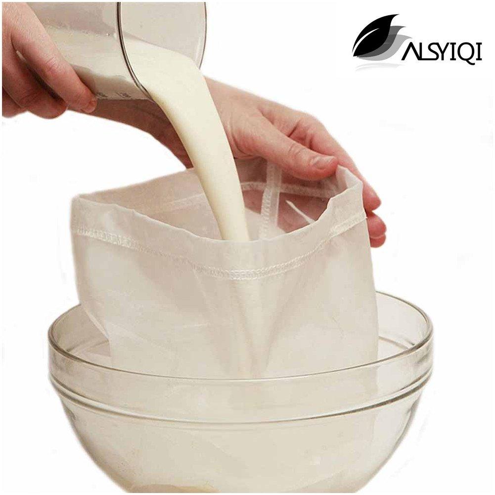 alsyiqi tuerca leche bolsa reutilizable de almendro en leche bolsa de malla fina y multiusos colador de alimentos 10 pcs, nailon, Blanco, ...