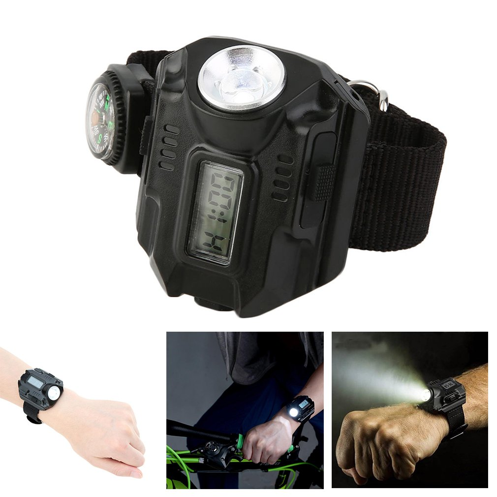 Multipurpose Useful Watch Digital Display Combine with 2+2 modes Protable Emergency Flashlight Suit for In/Outdoor Activities Fishing Hunting Camping Repair Work Light Survival Idea Gift WSI-72