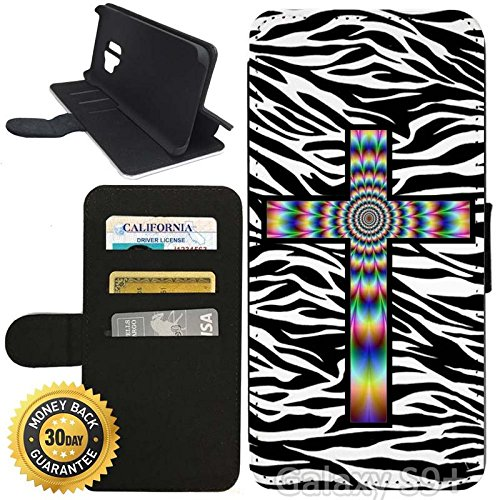 Flip Wallet Case for Galaxy S9 Plus (Colorful Tie Dye Cross Zebra Background) with Adjustable Stand and 3 Card Holders | Shock Protection | Lightweight | Includes Stylus Pen by (Tie Dye Zebra)