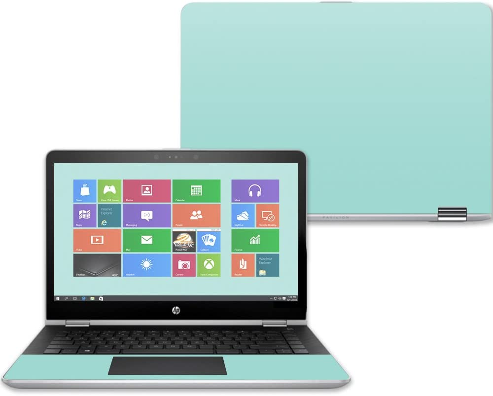"""MightySkins Skin Compatible with HP Pavilion x360 14"""" (2017) - Solid Seafoam   Protective, Durable, and Unique Vinyl Decal wrap Cover   Easy to Apply, Remove, and Change Styles   Made in The USA"""