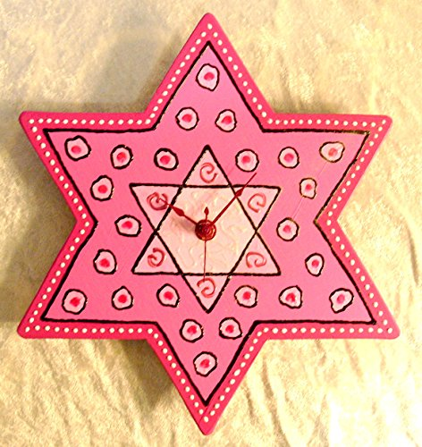 - Hand Painted Star of David Clock - Pink With Dots