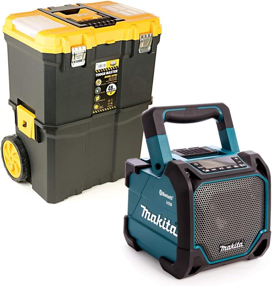 Makita DMR202 - Altavoz de 10,8 a 18 V CXT/LXT con caja de herramientas de 19 pulgadas en la rueda: Amazon.es: Bricolaje y herramientas