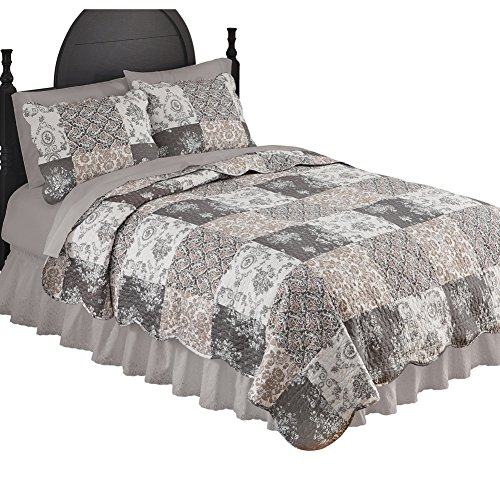 Collections Etc Tessa Patchwork Reversible Lightweight Quilt with Several Different Patterns and Scalloped Edges, Mocha, Full/Queen