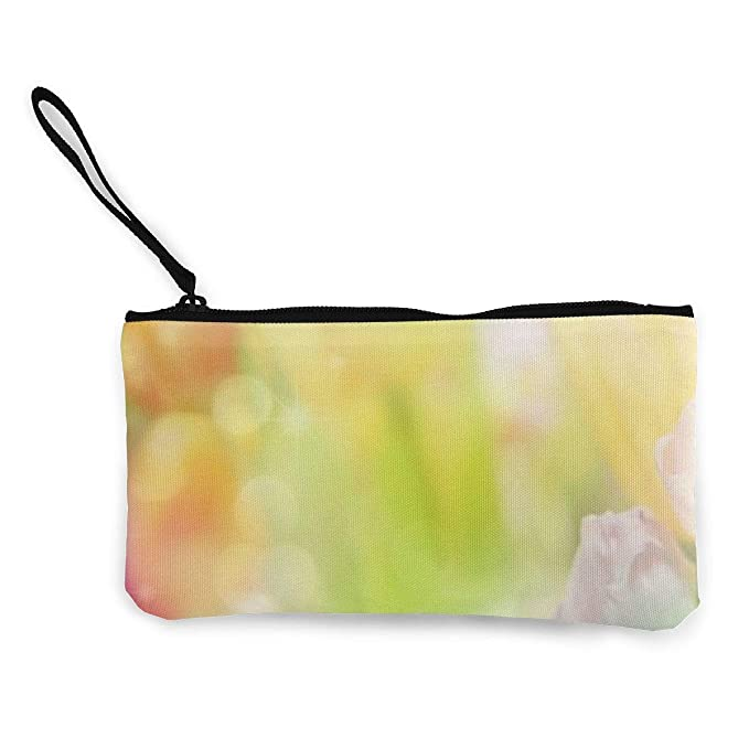 Canvas Cash Coin Purse, Fantasy Flowers Print Make Up Bag Zipper