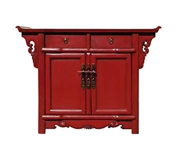 Bon Chinese Oriental Red Altar Side Table Cabinet Acs1325