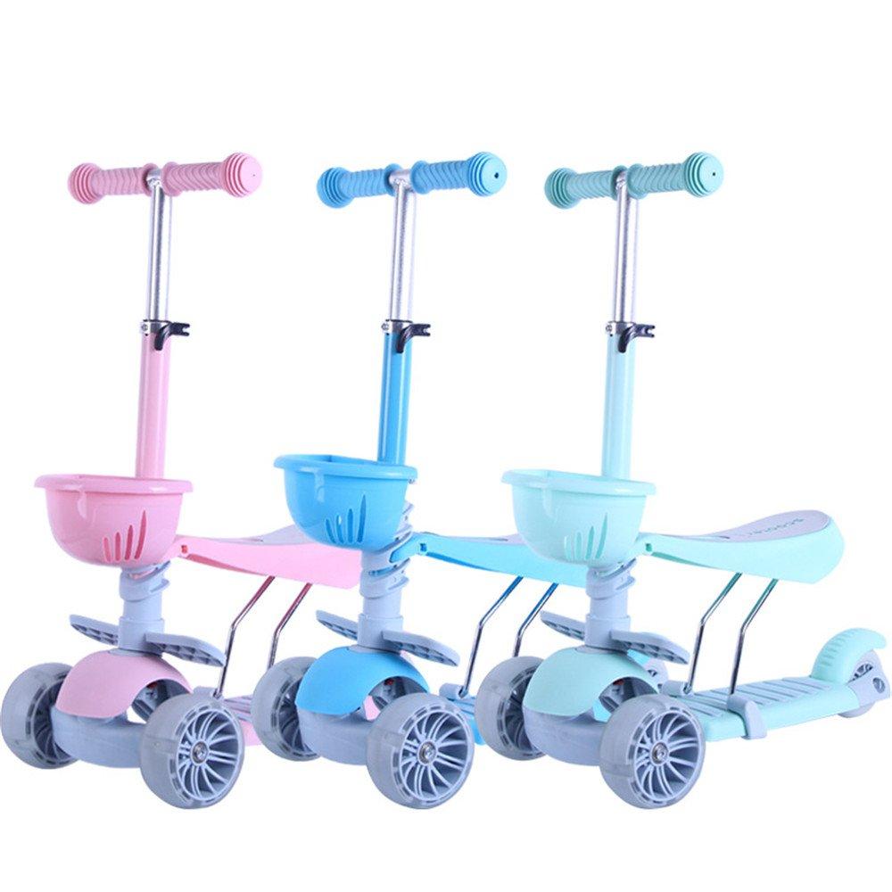3つの車輪キックスクーター子供のためのバスケット調節可能な高さ子供のための取り外し可能なシート高齢者1 + (Color : Green) (Color B07KLKBM2M Blue + Blue Blue, 岩出山町:aff352b2 --- grupocmq.com