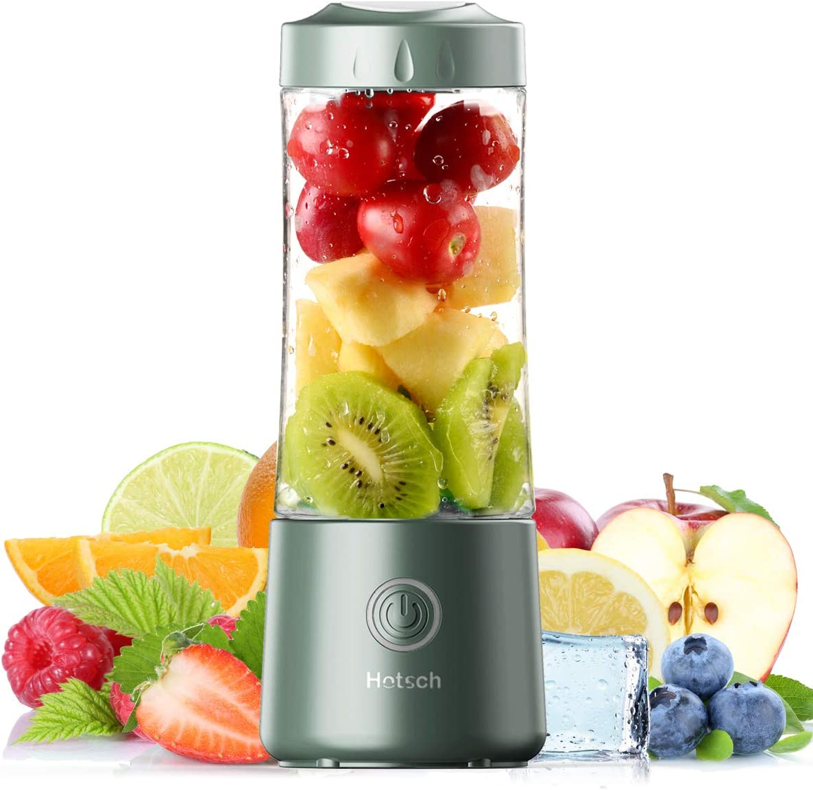 [2021 Newly Upgraded Version]Hotsch Portable Blender, 13.5 Oz Personal Size Blender, Juicer Cup for Juice, Crushed Ice, Smoothies and Shakes, 4000mAh USB Rechargeable with Six Blades, Mini Blender for Sports, Office, Travel, Gym, and Outdoors(Green)