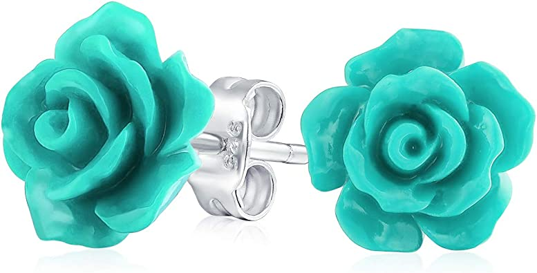 Plastic Girls Rose Colorful Ear Studs 925 Sterling Silver