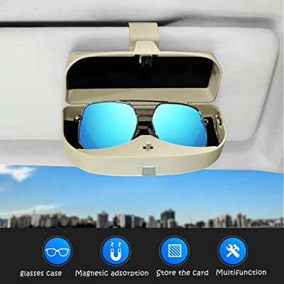 Dualshine Car Sun Visor Glasses Case Holder Clip, Eye Sunglasses Organizer Mount with Ticket Card Clip- Apply to All Car Models (Black): Automotive