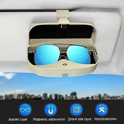 Dualshine Car Sun Visor Glasses Case Holder Clip, Eye Sunglasses Organizer Mount with Ticket Card Clip- Apply to All Car Models (Beige): Automotive