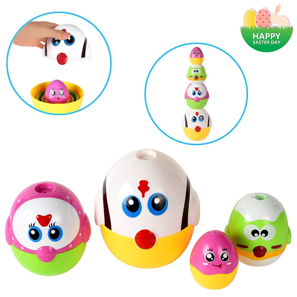 LUKAT Plastic Easter Eggs, Baby Toddler Easter Gifts, Stacking Toys and Nesting Playset Toy for Kids Boys Girls by LUKAT (Image #1)
