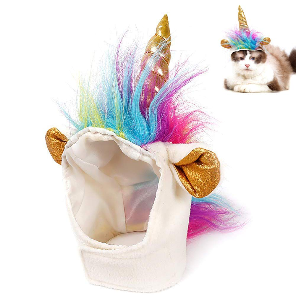 Ausein Pet Unicorn Hat for Cats Kitty Small Dog Puppy Cute Adorable Unicorn Costume in Halloween Christmas Festival Pet Costume Cosplay Accessories