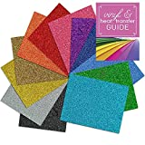Siser Glitter Heat Transfer Vinyl Sheets with Heat Transfer Garment Guide, 12 Inch x 20 Inch, 12 Assorted Color
