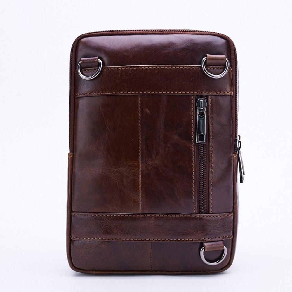 230ee7f8ecca Leathario Men s Leather Shoulder Bag Retro Messenger Bag Crossbody Bag 9.5  inch Ipad Bag Satchel Bag Brown (brown-603)