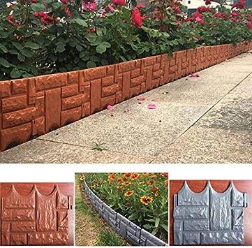 Ruyu Herramienta for el jardín 6PCS Bricolaje Jardín de ladrillo Cerca del Cemento Piedra de Cemento de moldes de plástico de jardín Valla de hormigón Flor Patio Césped Fabricante del Molde