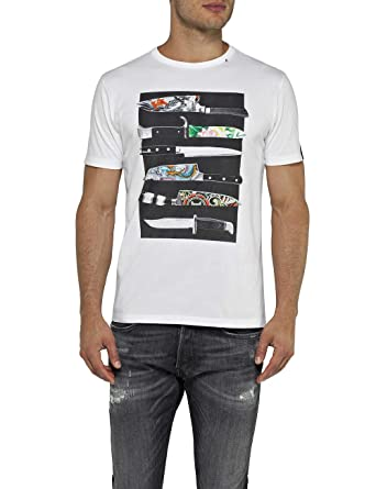 92289e9f64b Replay Men s T-Shirt with Knife Print White