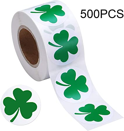 """25 SHAMROCK Clover 1/"""" inch SCRATCH OFF STICKERS LABELS TICKETS PROMOTIONAL GAMES"""