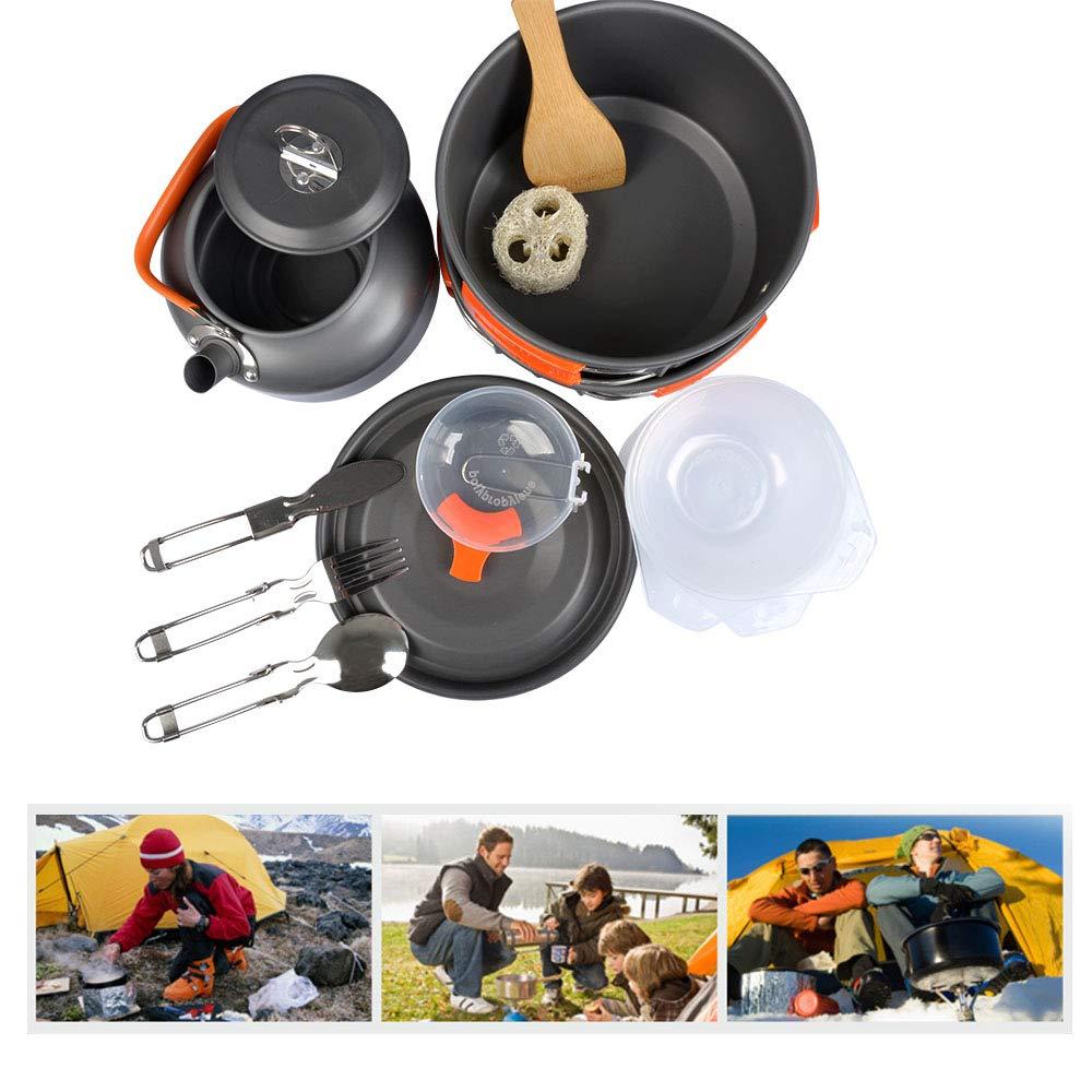 Acampada,etc Senderismo OFNMY Kit de 17pcs Utensilios Cocina Camping para Picnic Utensilios para Hoguera de Acampada Ollas y Sartenes de Acampada para Camping