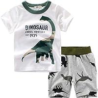 1-7years,SO-buts Niños Verano Chándal Ropa De Dormir Dinosaurio De Dibujos Animados Camiseta De Camuflaje Tops…