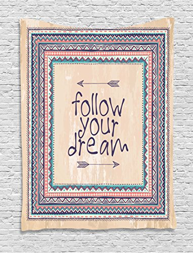 Ambesonne Tribal Tapestry, Inspirational Words Follow Your Dream and Arrows Aztec Framed Graphic Art Print, Wall Hanging for Bedroom Living Room Dorm, 40 W X 60 L Inches, Coral Blue