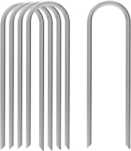 AAGUT 12 Inch Garden Stakes Heavy Duty 11 Gauge Landscape Staples Ground Tent Pegs/Spikes/Pins for Anchoring Dog Fence,Tubing Drip Irrigation Hose, Wire, Weed Barrier Fabric 50 Pack