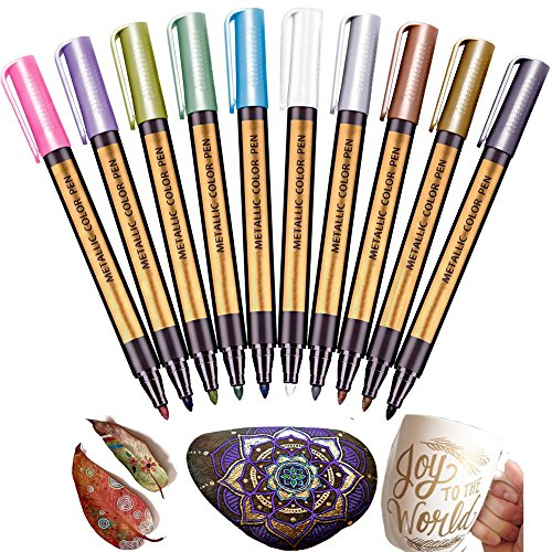 Metallic White Paint (Metallic Marker Paint Pen - 10 Color Jr.White Painting Kit for Rocks-Gift Card Making, Wood, Black Paper, Mug, Photo, Album, Ceramics, DIY Craft Kid, Dauber-Metal Art Supplies with Permanent Mark)