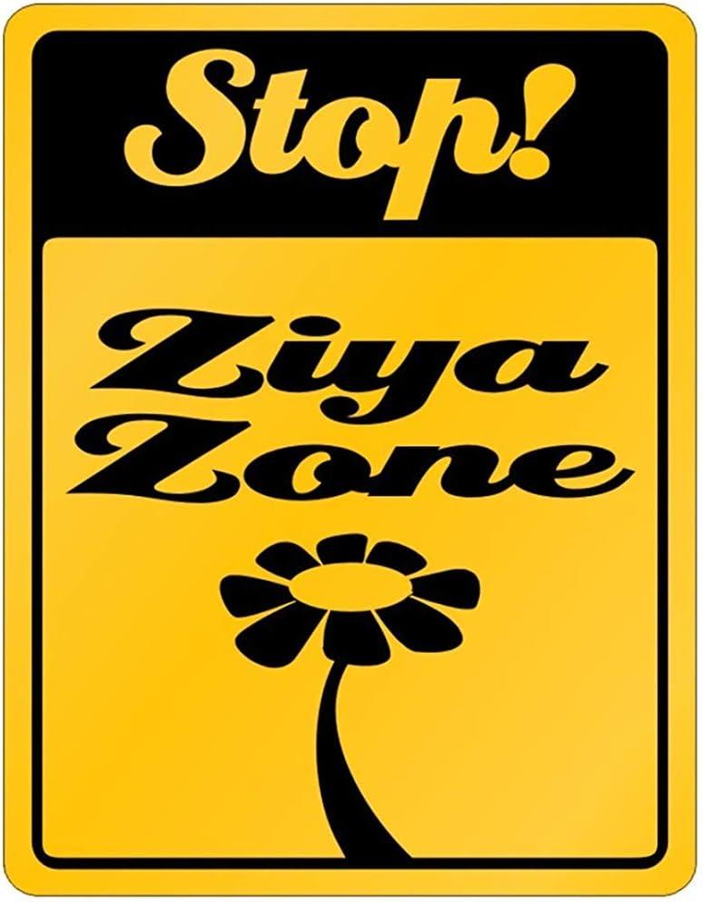 Fhdang Decor Stop! Ziya Zone - Cartel de aluminio con nombres personalizados para mujer, metal, multicolor, 12x18 inches