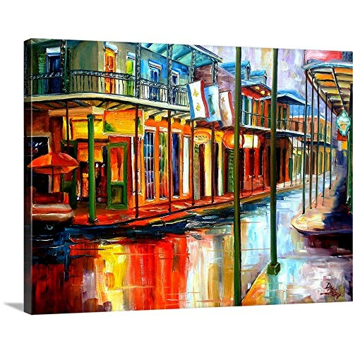 "Diane Millsap Premium Thick-Wrap Canvas Wall Art Print entitled Downpour and Jackson Square 24""x18"""