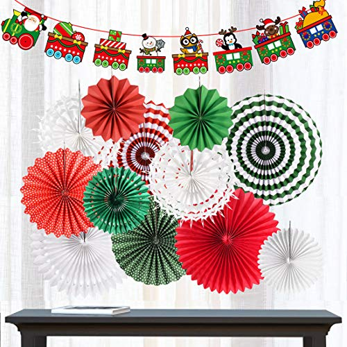 (Red and Green Christmas Hanging Paper Fans Decorations Round Paper Bunting Garland Banner Folding Fans Xmas Party Supplies Winter Holiday Party Decor (Christmas))