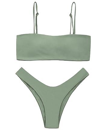 99f7719aa8525 ZAFUL Women s Sexy Bikini Set Removable Strap Wrap Padding Ribbed Swimwear  Set - Green - Small