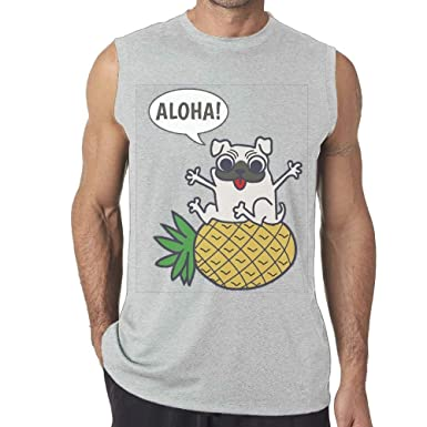Pineapple Pug Mens Yoga Vest O-Neck Ash Tank Top: Amazon.es ...