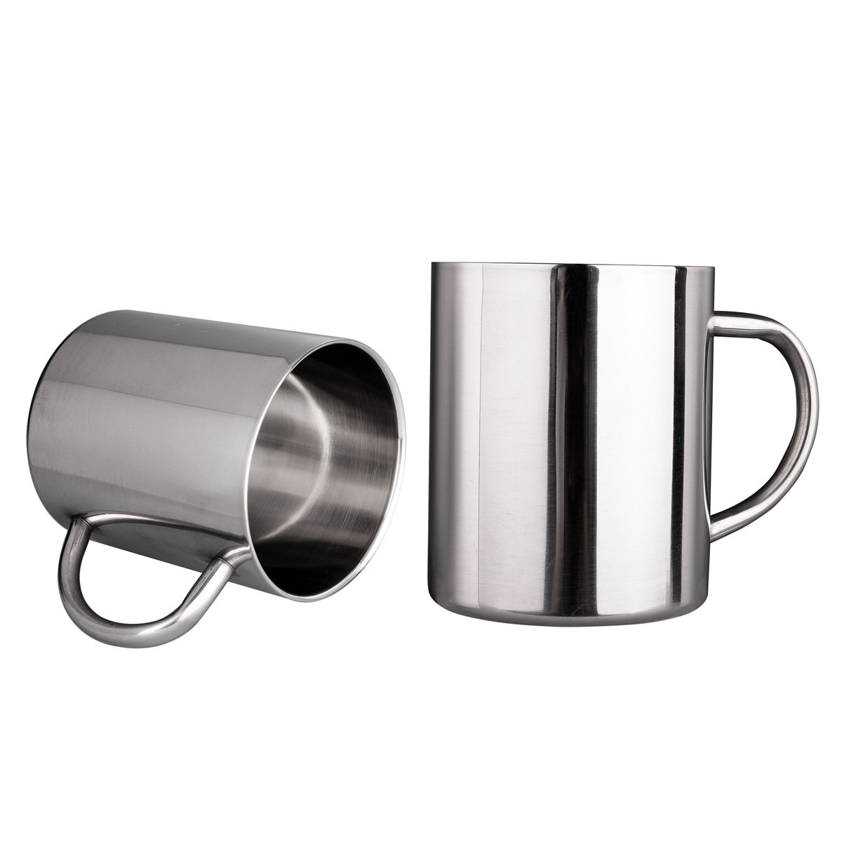 IMEEA® 7.8 Oz (220ml) Brushed Stainless Steel Double Wall Mugs Tea Cups Drinking Cups for Kids, Set of 2 H&PC-63279