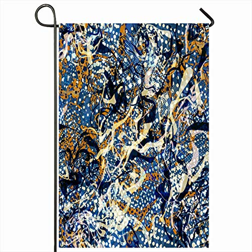Ahawoso Garden Flag 12x18 Inches Halftone Blue Brown White Black Colors Dotted Abstract Batik Chaotic Continuity Curved Dots Design Outdoor Seasonal Home House Yard Sign Double Sides Printed Banner