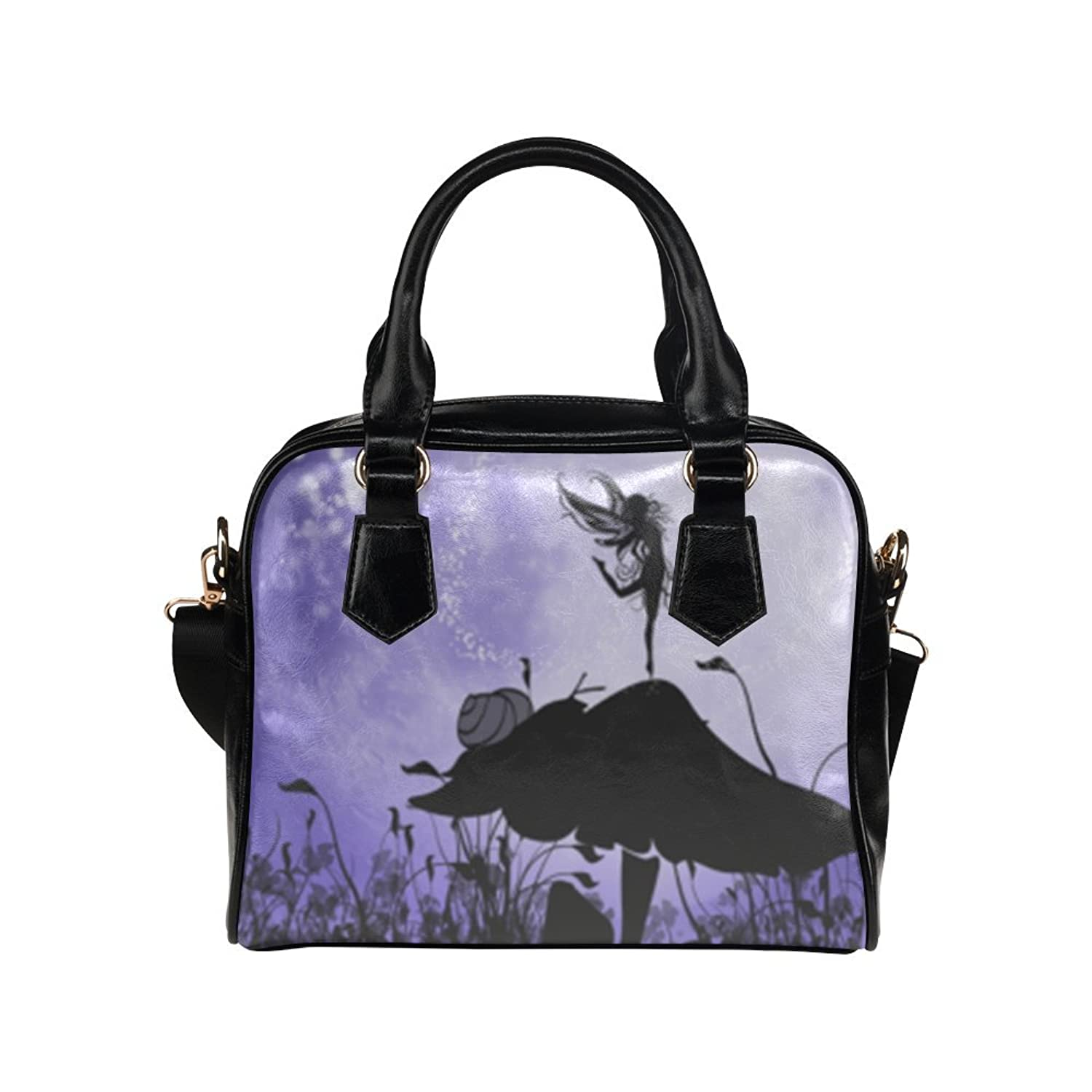 deardaling A beautiful fairy dancing on a mushroom silhouette Custom Leather Canvas Handbag /Tote Bag /Shoulder Bag for Women(Twin Sides)