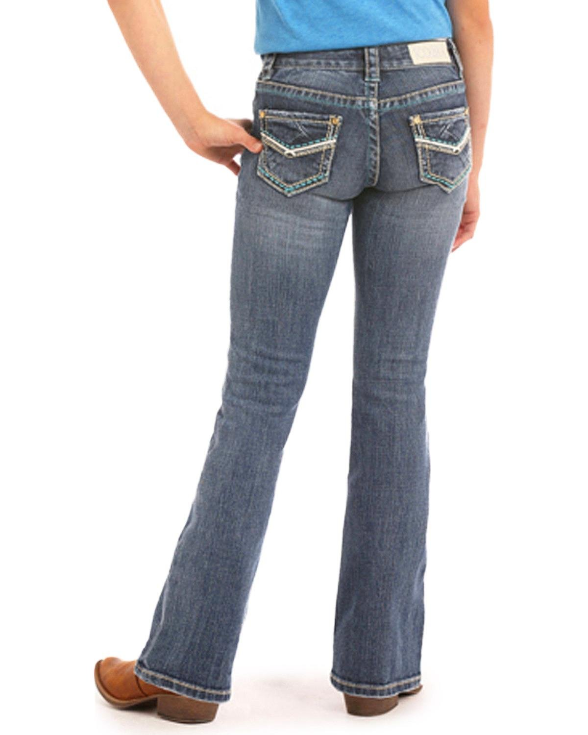 Rock & Roll Cowgirl Girls' and Criss Cross Leather Jeans (4-16) Boot Cut Indigo 10