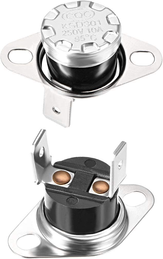 uxcell KSD301 Thermostat 95°C/203°F 10A Normally Closed N.C Adjust Snap Disc Limit Control Switch Microwave Thermostat Thermal Switch 2pcs