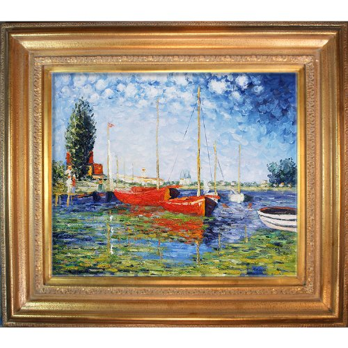 Hand-Painted Reproduction of Claude Monet Red Boats at Argenteuil Framed Oil Painting, 20 x 24 by overstockArt