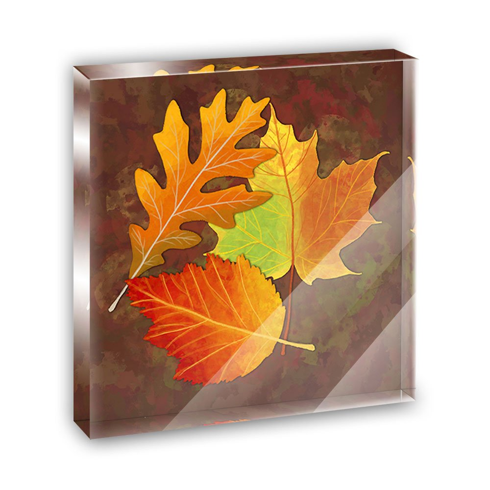 Colorful Autumn Leaves Acrylic Office Mini Desk Plaque Ornament Paperweight