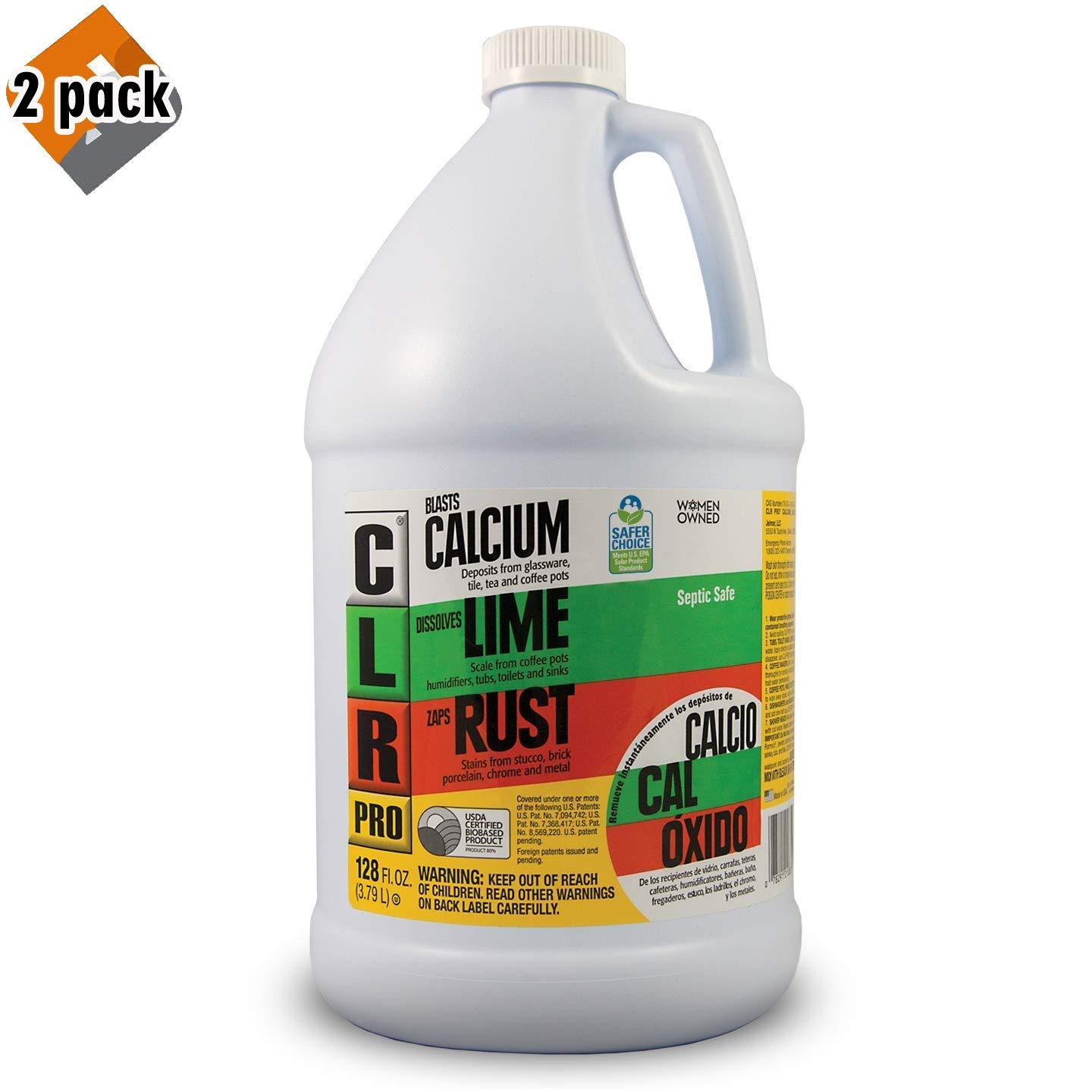 CLR PRO Calcium, Lime & Rust Remover, 1 Gallon Bottle - Pack 2 by CLR