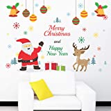 Wallstick Merry Christmas and Happy Year wallstickers (Vinyl 100 cm x 80 cm)