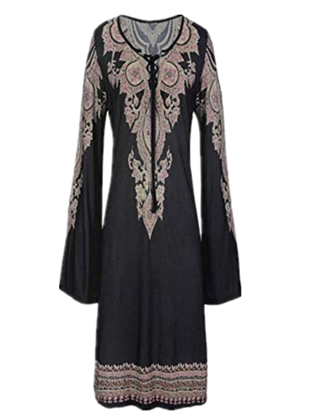TEBAISE Damen Tunika Strandkleid Minikleid Vintage Bohemian Kleider Strandtunika Frauen Sommerkleid Tunikakleid Bluse