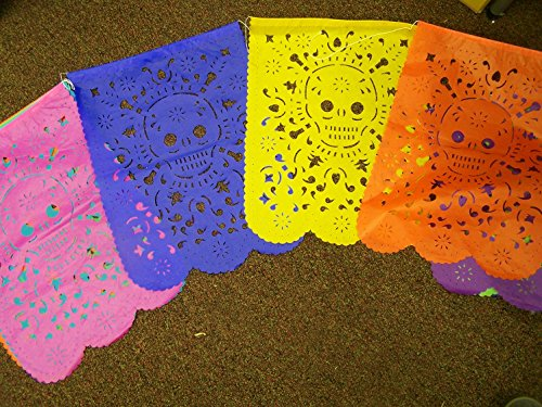 XL Papel Picado Day of the Dead SKULL Design - 10 Banners - 9 Feet Strand - Mexico
