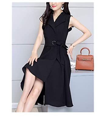 Summer Sleeveless Work Ol Women Casual A-Lin V-Neck Cotton Linen Dress Vestidos