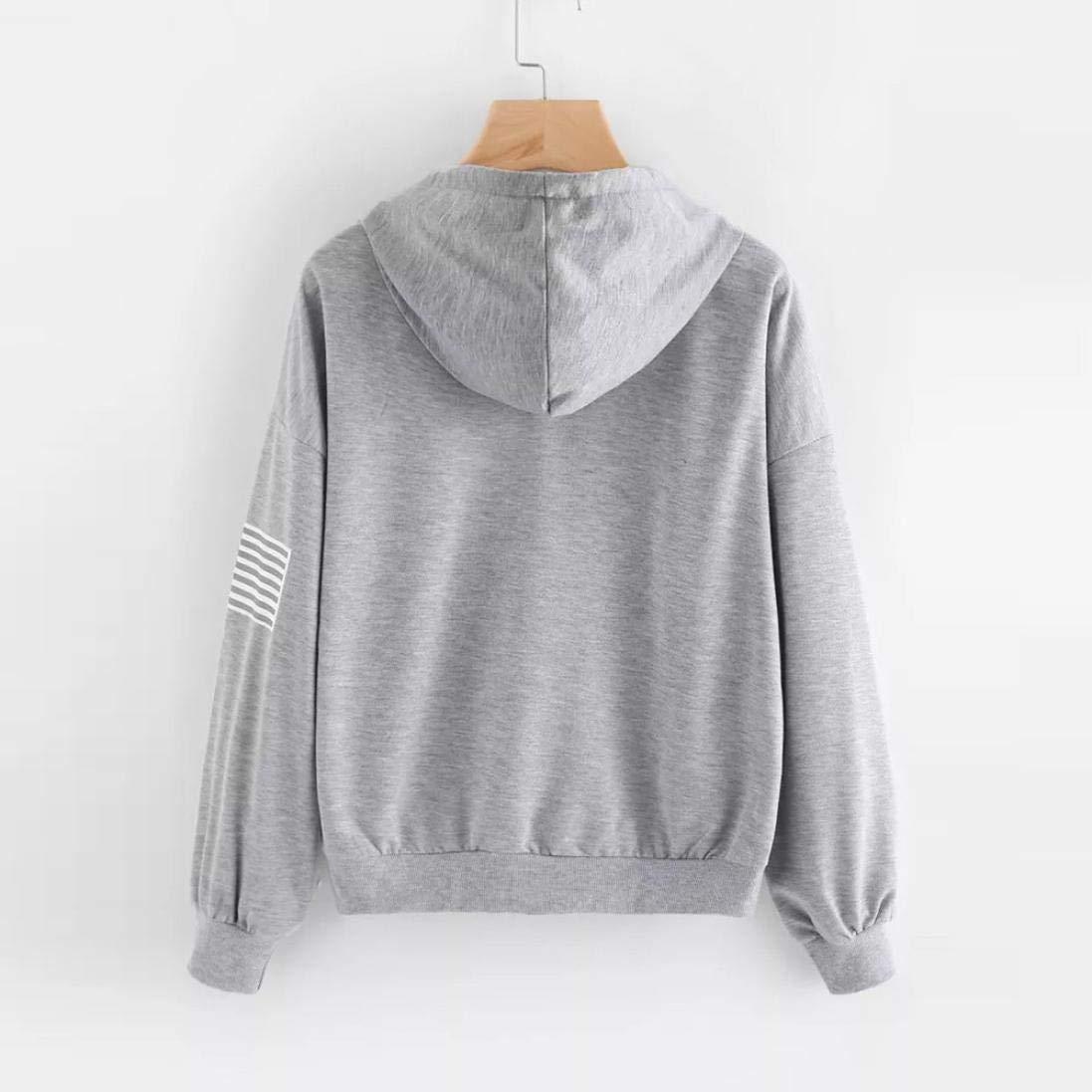 eb6251694a1503 Huihong Mädchen Teenager Hoodies Brief Flagge Druck Mode Kapuzen Sweatshirt  Damen Langarm Pullover Tops Bluse Streetwear