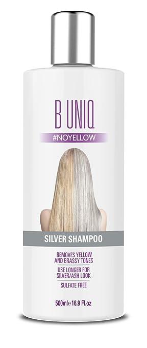 B Uniq - Champú matizador con pigmentos violetas para conseguir tonos plateados - Adiós al amarillo: revitaliza el cabello rubio teñido, decolorado y con ...