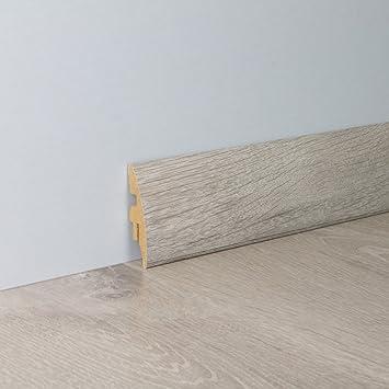 Sockelleiste Fu/ßbodenleiste Standard aus MDF in Wei/ße Eiche 2600 x 10 x 60 mm NEU!
